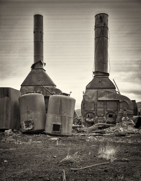 Boilers and tanks, building burned away