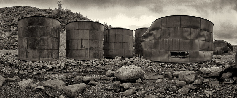 Whale oil holding tanks, disfigured from fire