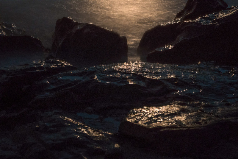 Moonlit Spray on Rocks, Allens Pond Wildlife Sanctuary, S. Dartm