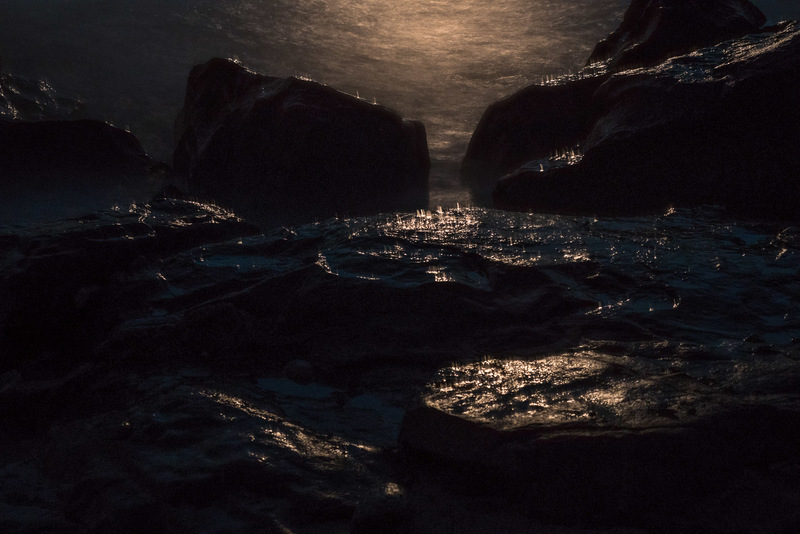 Moonlit Spray on Rocks