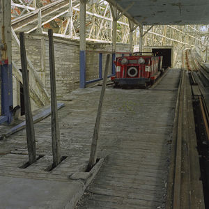 Roller Coaster Comet with Operators Levers at the Platform