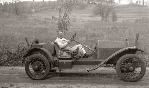 A.K. Miller driving an unrestored 1914 Stutz Bearcat, East Orange, VT